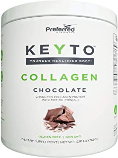 Keto Collagen Protein Powder with MCT Oil – Keto and Paleo Friendly Pure Grass Fed Pasture Raised Hydrolyzed Collagen Pept...