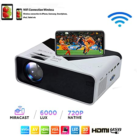SOTEFE® WiFi Proyector Portátil Full HD 1080P- 6000 Lumens Mini LED Video Proyector Portable Multimedia para iPhone/Samsung/Sony/Hauwei Smartphone Compatible con HDMI/USB/Tarjeta SD/VGA/AV/TV Box/PS4