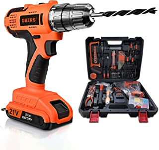 OUZRS Cordless Drill/Driver Tool Kit, 102Pcs Household Power Tools Drill Set with 21V Lithium Driver Claw Hammer Wrenches ...