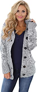 Women Hooded Knit Cardigans Button Cable Sweater Coat,$2.00 coupon applied.,with coupon (some sizes/colors)