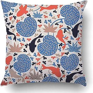 Moily Fayshow Fundas de cojín Estanque japonés Azul con Peces Pez marrón Flor de koi Chino Floral asiático Japón Funda de Almohada de poliéster 45 X 45 cm