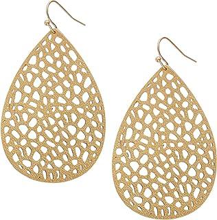 Humble Chic Vegan Leather Earrings for Women - Teardrop Leaf Dangle Statement Filigree Dangling Lightweight Boho