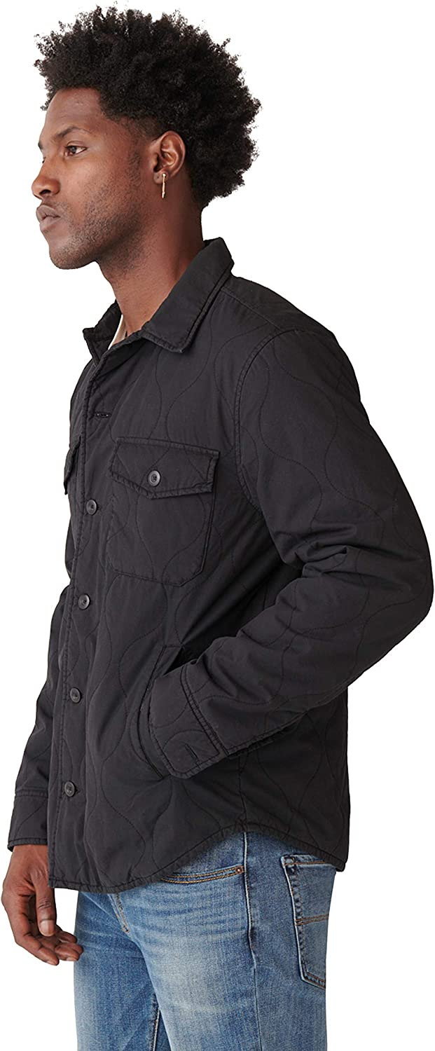Lucky Brand mens Long Sleeve Button Up Quilted Shirt Jacket