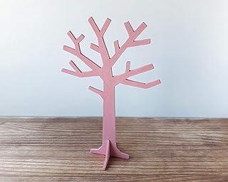 Organizador de joyas en forma de árbol rosa pastel, Colgador para anillos, pulseras y pendientes