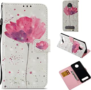 Motorola Moto Z2 Play Case,Moto Z2 Force Case,PU Leather Wallet Flip Full Body Protective Phone Cover with Credit Card Slot Wrist Strap Magnetic Closure Stand Accessories Flower