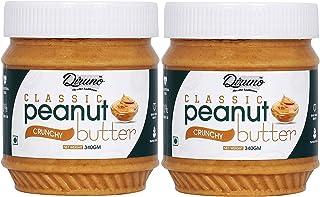 Diruno® 100% Classic Peanut Butter Crunchy 340gm (Gluten Free, Non-GMO) Pack of 2
