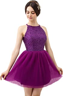 FASHION DRESS Short Purple Halter Knee Length Tulle Homecoming Gowns Prom Dresses