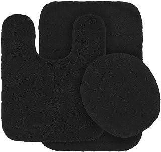 Mk Home 3pc Angela Non Slip Soft Bath Set Rugs for Bathroom Bath Rug, Contour Mat, Toilet Seat Cover New (Black)