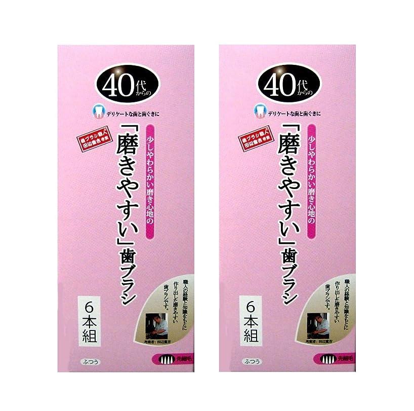 仕立て屋年次微妙歯ブラシ職人 田辺重吉考案 40代からの磨きやすい歯ブラシ 先細 6本組×2個セット