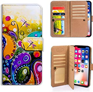 Bfun Packing iPhone XR Wallet Case,Bcov Colorful Dragonfly Multifunctional Wallet Flip Case PU Leather Folio Cover with Credit Card Slot ID Card Holder Wrist Strap for iPhone XR