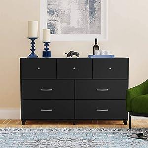 Cozy Castle Dresser, Tall Dresser and Large Dresser, Chest of Drawers for Bedroom, Horizontal Dresser and Vertical Dresser for Clothes Storage, Bedroom Furniture (7-Drawer, Black)