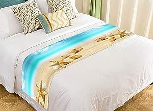 Custom Tropical Island Sandy Beach Seashell Starfish Blue Sky Bed Runner Bedding Scarf Size 20x95 inches