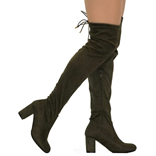 d5ad13309fa MVE Shoes Women s Stretch Thigh High Heeled Boots
