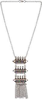 Efulgenz Boho Bohemian Indian Oxidized Silver Jewelry Tassel Strand Long Statement Necklace
