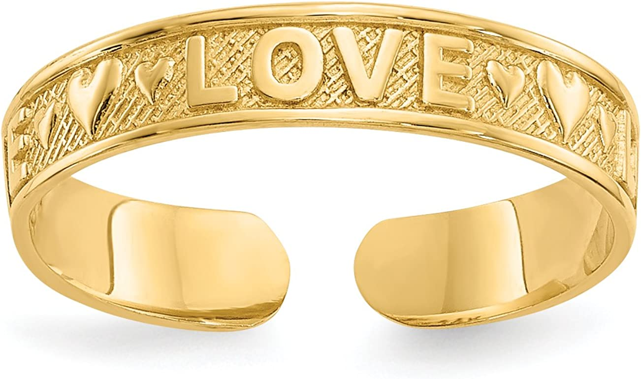 14k Yellow Gold Love Word and Hearts Toe Ring with Textured Band