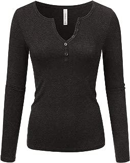 Doublju Sexy Deep V-Neck Henley T-Shirt for Women