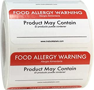 Writable Generic Food Allergy Warning Labels 1 x 2 Inch 500 Total Stickers