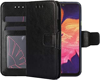 Galaxy A10 Case,Galaxy A10 Wallet Case,CH-IC PU Leather Folding Flip Shockproof Protective Cell Shell with Kickstand Function,ID Credit Card Slots,Magnetic Closure for Samsung Galaxy A10 2019 (Black)