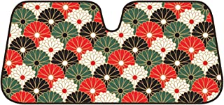 BDK Fold-up Sunshade for Windshields - Accordion Style Large Auto Shade (Oriental Flowers)