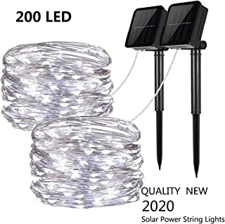 Chinety Upgraded Solar Powered String Lights, 2 Pack 8 Modes 200 LED Solar Fairy Lights Waterproof 66ft Silver Wire Lights Outdoor Garden String Lights for Home Patio Yard Party Decor (Cool White)