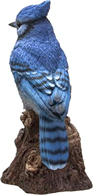 Pacific Giftware Blue Jay Perching on Branch with Motion Activated Bird Sound Collectible Figurine