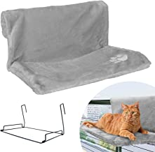Strong Hanging Cat Hammock - Plush Pet Shelf - Folds Easily for Travel - Hang Anywhere (Beige and Grey)