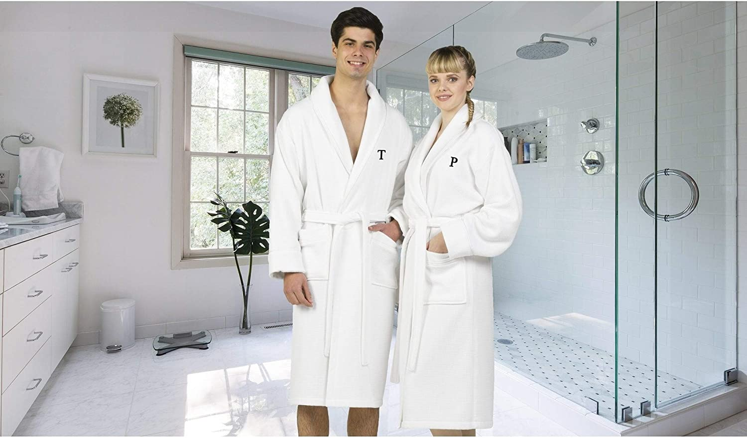 Authentic Hotel and Spa White Unisex Turkish Cotton Waffle Weave Terry Bath Robe with Black Block Monogram M L-XL