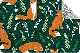 LORVIES Cute Orange Foxes Wicker Green Indoor Door Mat, Non-Slip Absorbent Doormat Inside Floor Mats Area Rug for Entrywa...