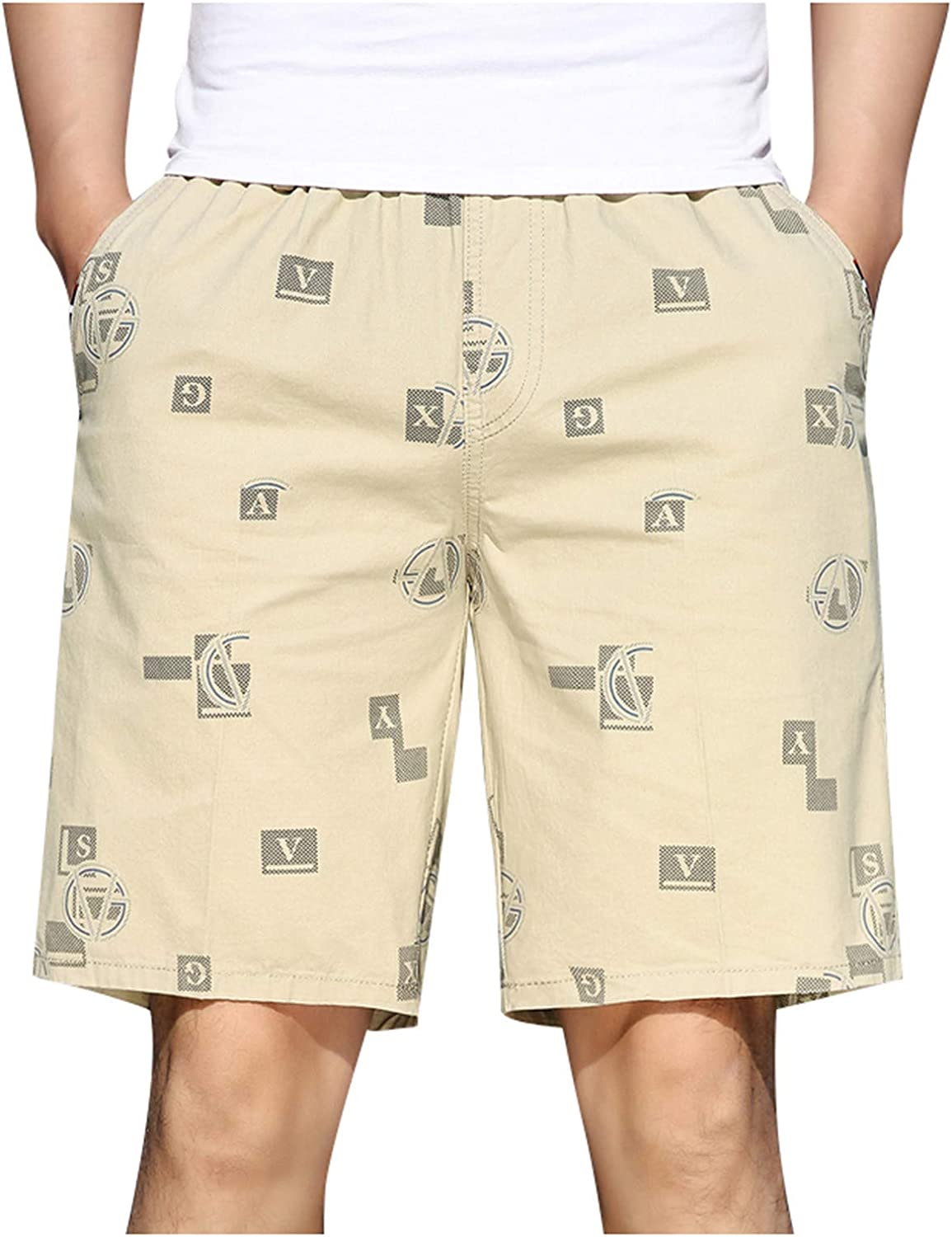 GBSELL Men's Print Cargo Shorts Elastic Waist Relaxed Fit Multi-Pockets Cotton Casual Outdoor Lightweight Work Shorts