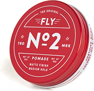 FLY POMADE NO. 2 Medium Hold Hair Styling Product for Men & Women, Matte or Shiny Finish, Water Soluble, All Hair Types, All Day Hold, Defining,Texturizing & Thickening, Barber Approved - 3 Ounce Tin.