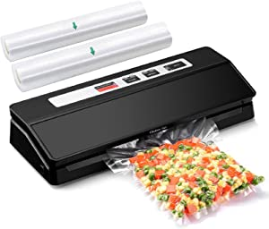 Vacuum Sealer Machine for Food, Automatic Food Saver Vacuum Sealer for Food Storage, Compact Food Vacuum Packing Machine with 2 Roll Vacuum Bags, Bag Roll Cutter, Dry & Moist Modes, Led Indicator Lights