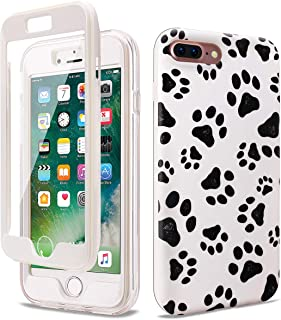 GOLINK Full Body Shockproof Protective Case with Built-in Screen Protector for 5.5 inch iPhone 7 Plus and iPhone 8 Plus(Paws)