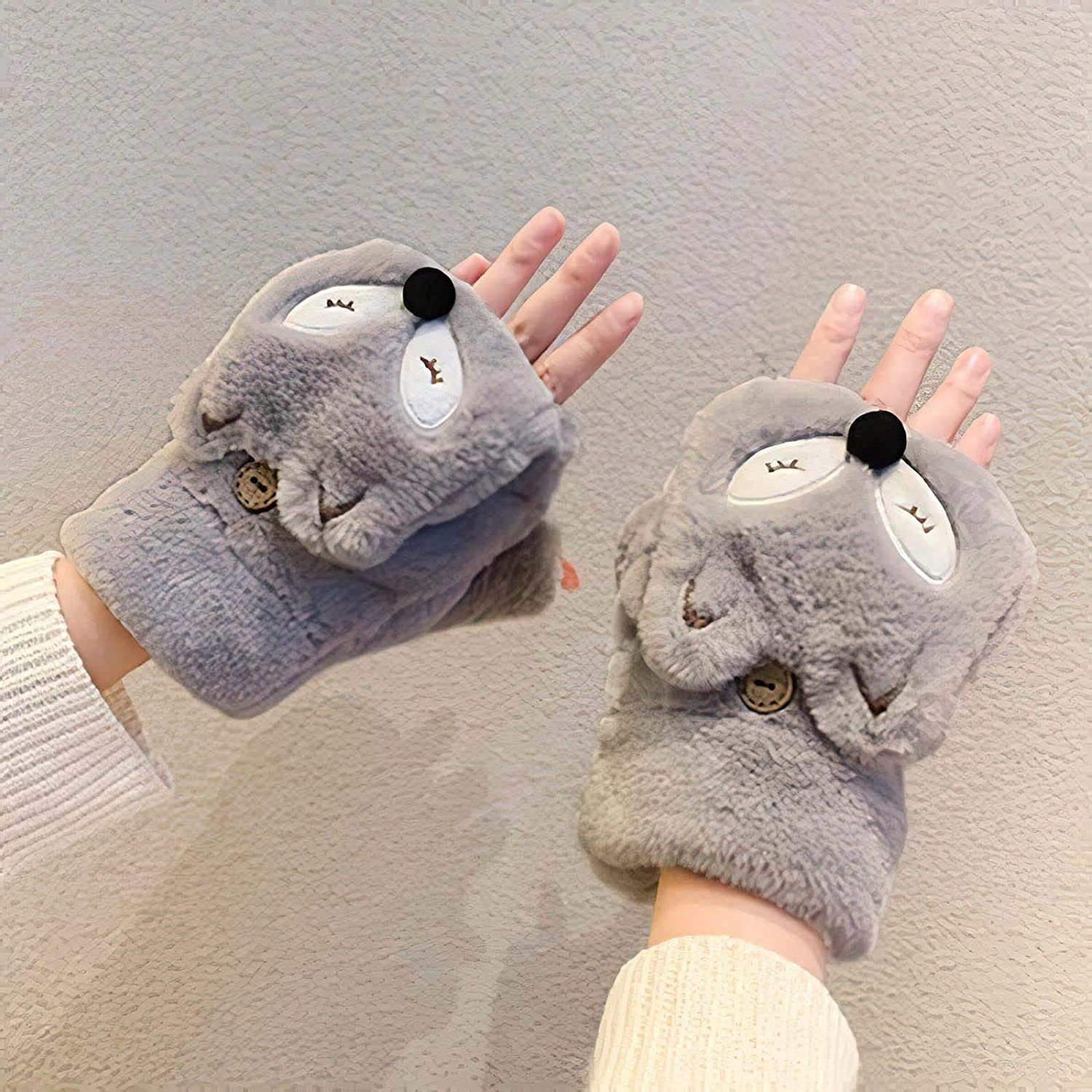 Cute Little Fox Renovate Half- Finger Gloves for Woman Winter Add Velvet Thicken Keep Warm Student Cold Proof Mittens (Color : Grey, Size : One Size)
