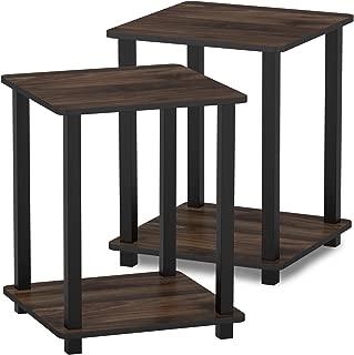Furinno 12127CWN/BK Simplistic End Table, Columbia Walnut/Black