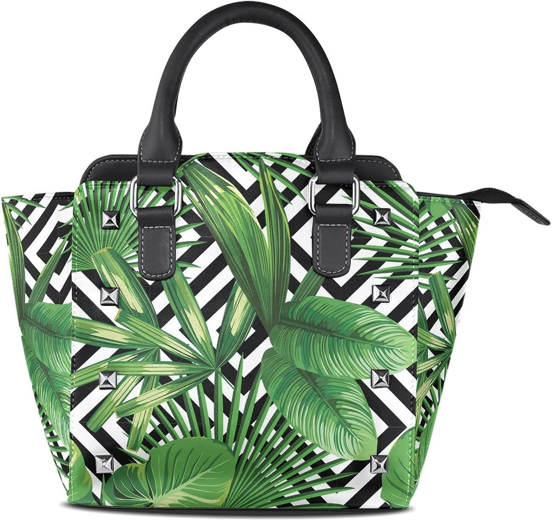 My Little Nest Women's Top Handle Satchel Handbag Palm Leaves Black White Geometric Ladies PU Leather Shoulder Bag Crossbody Bag