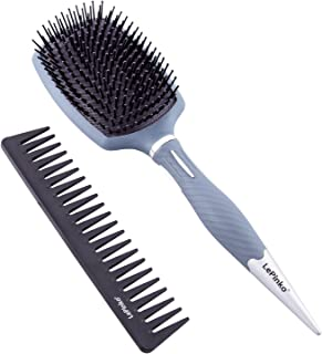 LePinko 13 Rows Hair Brush and Carbon Fiber Wide Tooth Comb Set, Super Sturdy Detangler Pack for All Hair Types, Even Blac...