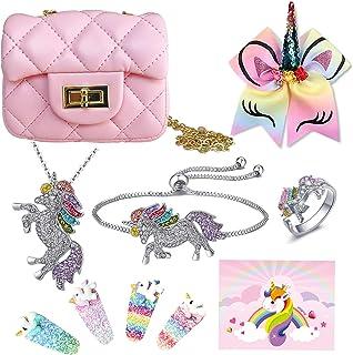 LittleBoo Unicorn Gifts for Girls - Crossbody Purse, Unicorn Necklace, Unicorn Bracelet, Unicorn Hair Bows - Unicorn Jewel...