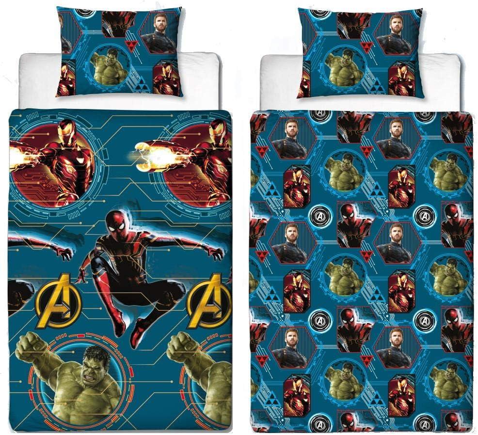 Official Avengers Endgame Single Duvet Cover Reversible Bedding Iron Man Spiderman Hulk Captain America