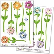 Kiwistar Bloemenweide aanbrengen, 12 bloemen, totale grootte, muurstickerset, boogstickers gekleurd, DIN A4; totale opperv...