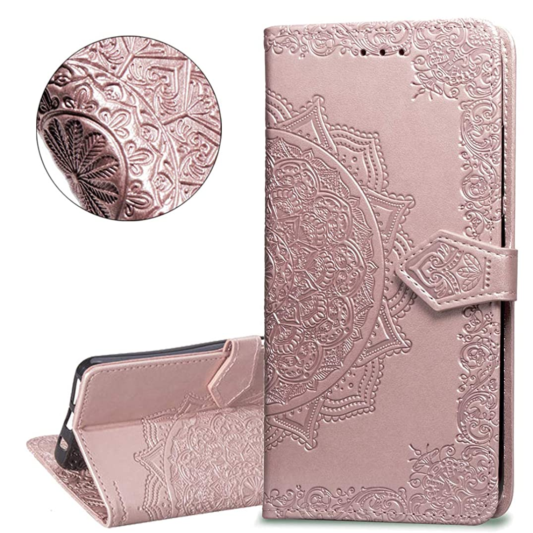 HMTECHUS Moto G6 Plus case Embossed Solid Color Flower Card Slots PU Leather Wallet Bookstyle Magnetic Flip Stand Shockproof Protection Slim Cover for Motorola Moto G6 Plus 2018 -Mandala Rose Gold SD