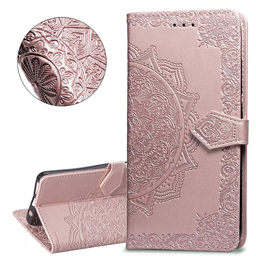 HMTECHUS Huawei P30 Lite case Pure Color Embossing Shell Card Slots PU Premium Leather Wallet BookStyle Magnetic Flip Stand Shockproof Protection Slim Cover for Huawei P30 Lite -Mandala Rose Gold SD