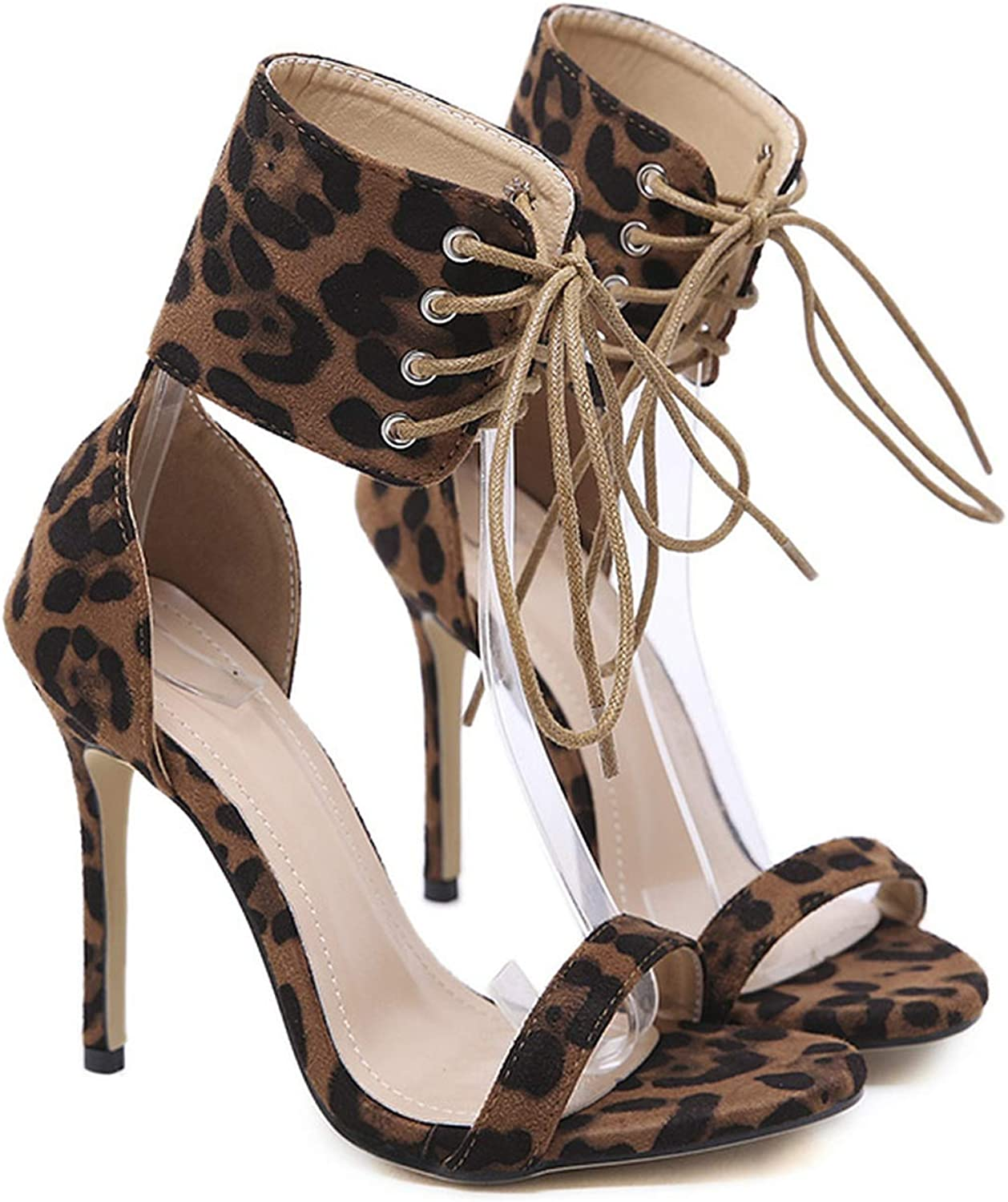 Little SU Ankle Strap Sandals High Heels Pumps Leopard Ankle Wrap Cross Tied Lace Up Platform shoes
