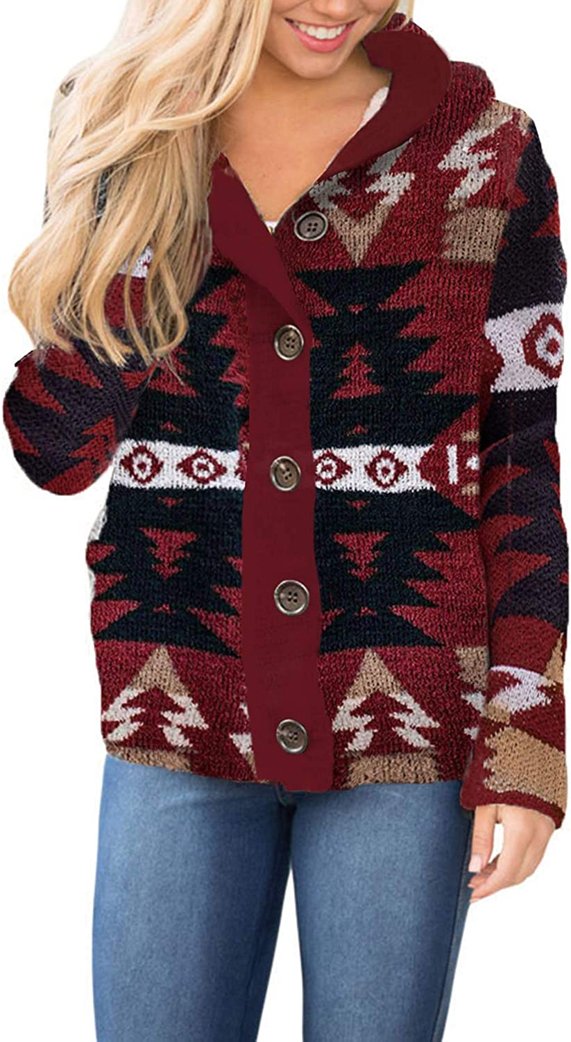 HOTAPEI Womens Warm Knit Sweater Cardigans Tucson Mall Recommended Coat Hooded Button-up