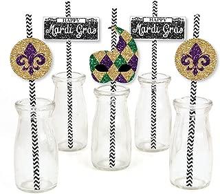 Mardi Gras Paper Straw Decor - Masquerade Party Striped Decorative Straws - Set of 24