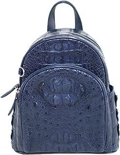 Authentic M Crocodile Skin Womens Hornback Bag Backpack Navy Blue Handbag