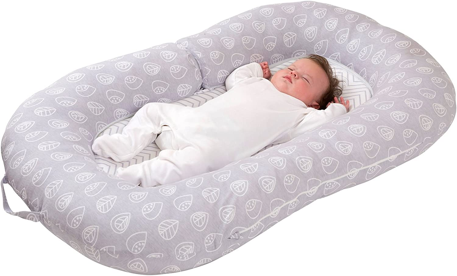 Clevamama Mum2me Sleep Pod Baby Nest and Maternity Pillow (0-12 Months), Grey white