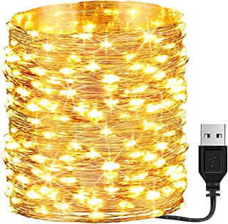 GDEALER 66ft 200 Led USB Powered Fairy Lights, Waterproof String Lights for Bedroom Indoor Outdoor Wedding Halloween Christmas Decor Lights Warm White (Power Adapter not Included)