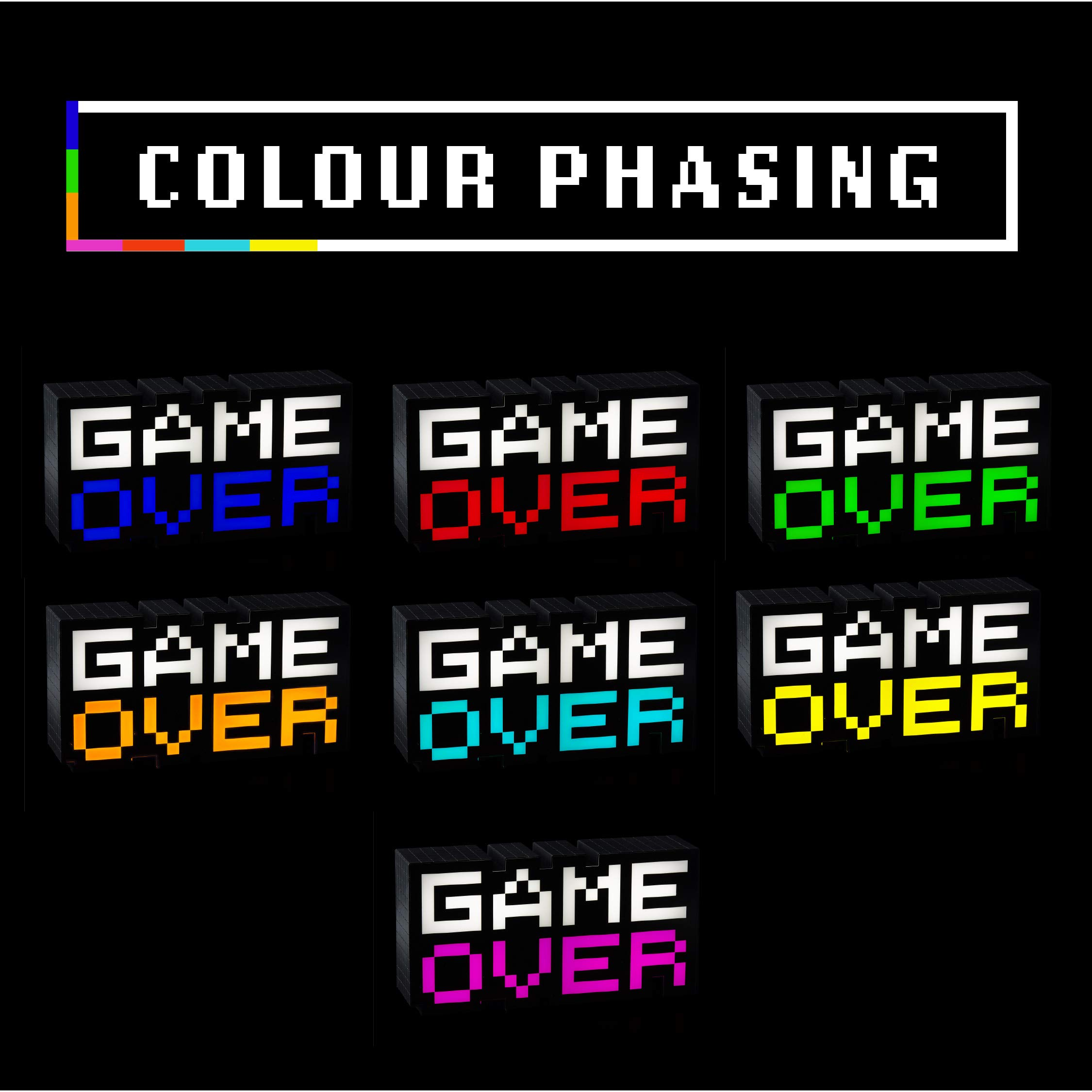 Paladone 8-Bit Pixel Game Over Light - Color Changing Sound Reactive Collectible Decor Lamp