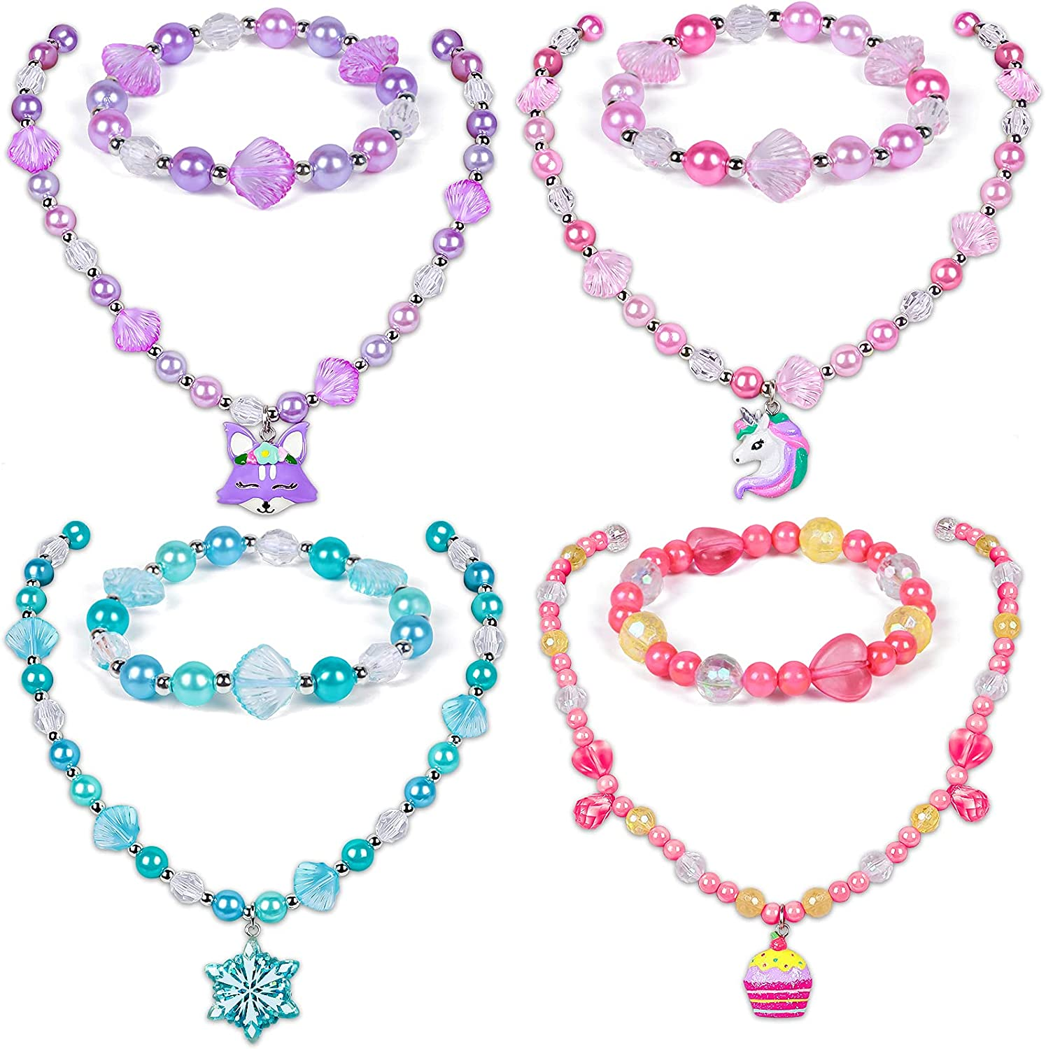 Rare Winrayk 4Set Girls Beads Necklaces with Set Bracelets Super beauty product restock quality top Jewelry Sp