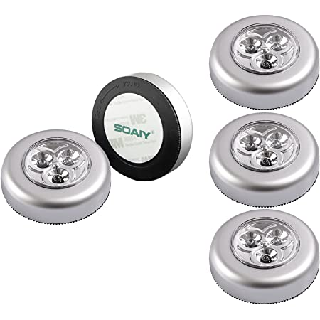 SOAIY Lot de 5 Lampe Spot LED Autocollant Éclairage Supplémentaire Alimenté par 3 Piles/Batteries pour Penderie/Placard/Étagère/Entrée/Cuisine/Passage - Argent